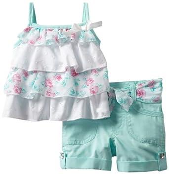 Little Lass Baby-girls Infant 2 Piece Short Set with Layers, Aqua, 12 Months