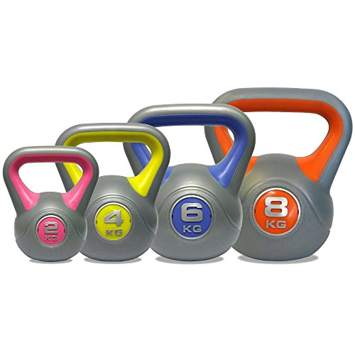 DKN Vinly Kettle Bell - Set di pesi, multicolore, da 2 a 8 Kg