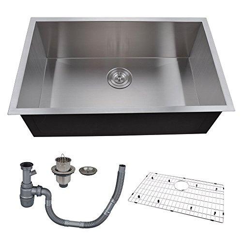 KES 30-Inch Kitchen Sink Stainless Steel Single Bowl Undermount Deep 16 Gauge Zero Radius with Drain Stainer Basket and Bottom Grid Protector 30 x 18 x 10 Inch European Contemporary Style, UB7646-C1 (Stainless Steel Sink Single Bowl compare prices)