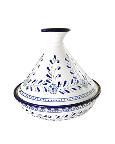 Le Souk Ceramique Azoura 12″ Tagine Azoura, Blue/White