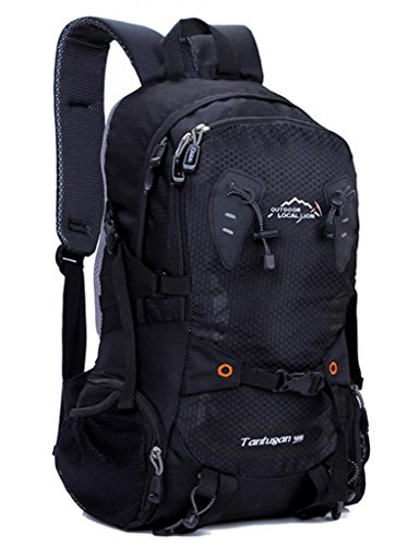 Zerd Outdoor Waterproof Nylon Mountaineering Camping Travel Backpack Trekking Bag 28L Black front-212197