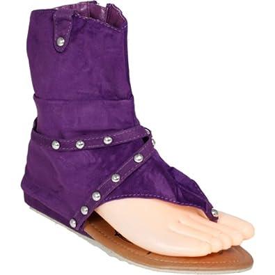 NPW Women's Ankle Gladiator Sandals Suede 4 Colors Flip Flops Open Toe T-Straps Thongs Side Zipper Studded Flats Slipper Shoes (5 B(M) US, Purple)
