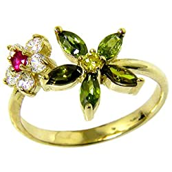 Solid 14K Yellow Gold Cubic Zirconia Flower Petals Toe Ring