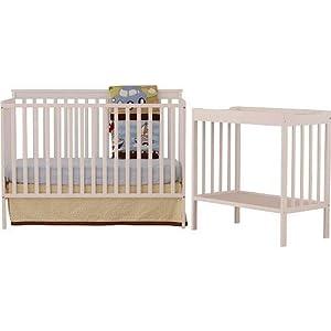 Stork Craft 04521-001 Milan Convertible Crib and Changer Combo Set (White)
