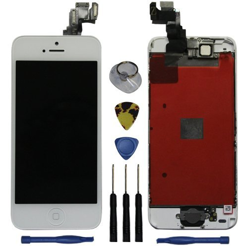 For Iphone Lcd Display Touch Screen Glass Digitizer Assembly With Spare Parts (Home Button & Camera & Flex Cable Sensor)5C White