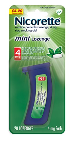 Nicorette mini Nicotine Lozenge Mint 4 milligram Stop Smoking Aid 20 count
