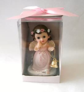 "Baby Keepsake: Set of 12 Baby ""GIRL"" Baby Angel with Holding Bell Statue Religious Gift Boxed Party Favors CR095W-P"