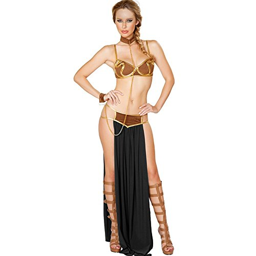 Star Wars Cosplay Sexy Princess Leia Slave Dress Costume Halloween Costume L15366 (Black) (Star Wars Slave Leia Costume)