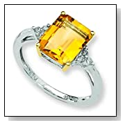 Ster Silver 14K Gold IJ|Yellow Diamond & Citrine Fashion Ring