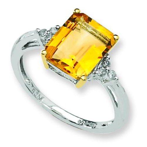 Ster Silver 14K Gold IJ|Yellow Diamond & Citrine Fashion Ring