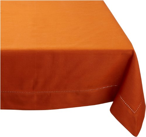 Mahogany Solid-Color 100-Percent Cotton Hemstitch Tablecloth, 60-Inch by 60-Inch Square, Orange