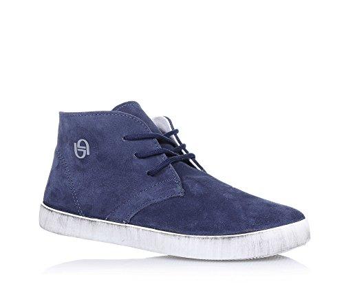 BYBLOS - Polacco blu stringato, in camoscio, con logo laterale, cuciture a vista e suola in gomma, Bambino, Ragazzo-40