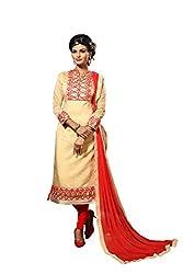 Pakiza Design new gorgeous creme chanderi cotton party wear salwar suit dress material