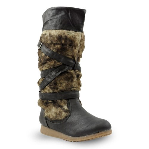 Winterstiefel in Fell-Optik schwarz 36