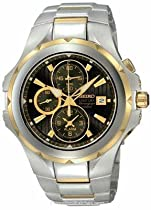 Seiko Mens Coutura SNAD64 Chronograph Charcoal Dial Stainless and Gold-Tone Date