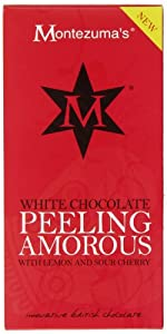 Montezuma's Peeling Amorous White Chocolate with Lemon and Sour Cherry Bar 100 g (Pack of 4)