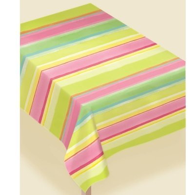 Amscam 1 Count Sunny Stripe Pink Paper Table Cover, Multicolor