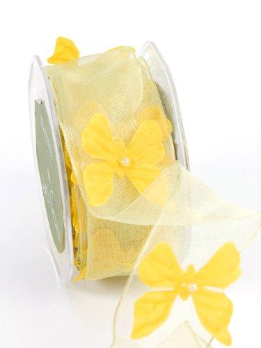 May Arts 1-1/2-Inch Wide Ribbon, Yellow Sheer Butterflies