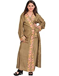 Exotic India Silver-Mink Robe From Kashmir With Ari Embroidered Flowers O - Grey
