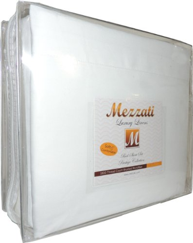 Mezzati 1800 Thread Count Brushed Microfiber Luxury Linen Bed Sheets Set, King, White (King Bed Hotel Sheets compare prices)