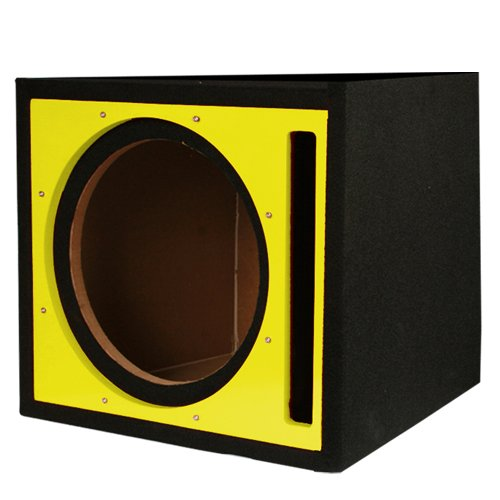 Absolute Usa Pseb12Y Single 12-Inch Ported Subwoofer Enclosure With Yellow High Gloss Face Board And Black Carpet