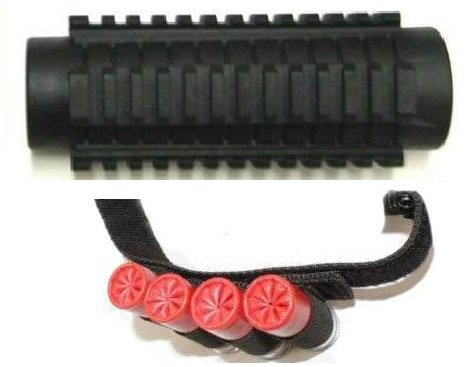 Ultimate Arms Gear Stealth Black Mossberg 500/535/590/835 12 Gauge Shotgun Weaver / Picatinny Accessory Mount + 4 Shot Shell Ammo Round Reload Carrier Holder Strap front-8845