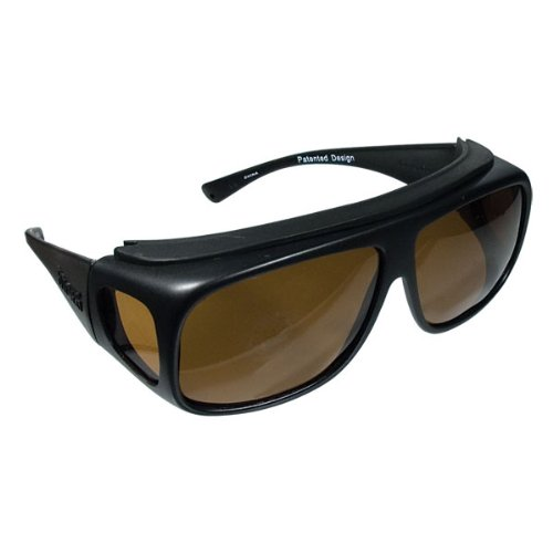Navigator Medium Sized Fit Over Sunglasses Black Frames Amber Lenses