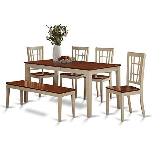 East West Furniture NICO6-WHI-W 6-Piece Dining Table Set, Buttermilk/Cherry Finish (Cherry Dining Room Table compare prices)