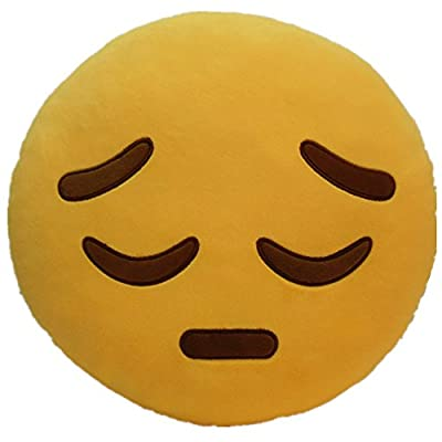 LI&HI 32cm Emoji Smiley Emoticon Yellow Round Cushion Pillow Stuffed Plush Soft Toy (Depression) by LI&HI