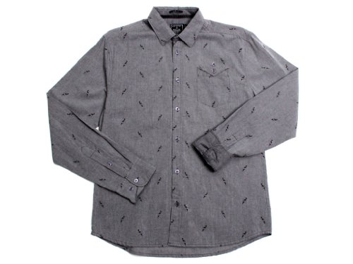 Artistry In Motion Men'S Ls Chambray Button Up Knives Print Shirt X-Large Micro Chip