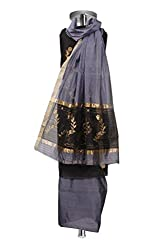 Grey & Black Handwoven Chanderi Cotton Silk Suit Fabric with elaborate work