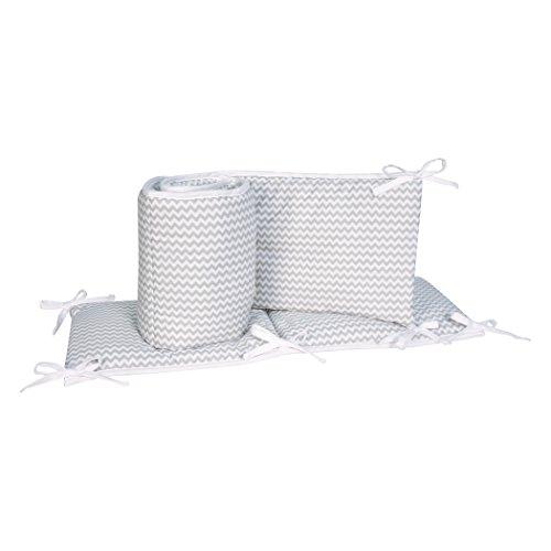 Trend Lab Dove Gray Chevron Crib Bumpers, White