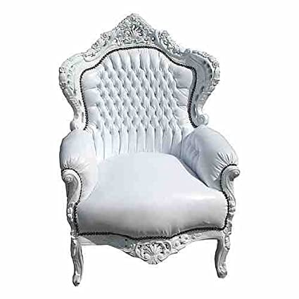 Baroque Armchair 'King' white / white leather look