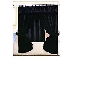 Double Swag Fabric Shower Curtain And Vinyl Shower Liner Black Home Kitchen