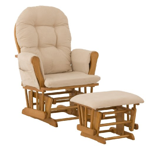 Stork Craft Hoop Glider and Ottoman, Oak/Beige