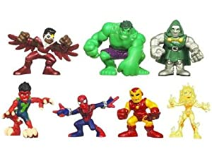 Marvel Superhero Squad Mini Figure 7Pack Defeat of Dr. Doom Volcana, Reptil, Falcon, SpiderMan, Hulk, Iron Man, Dr. Doom