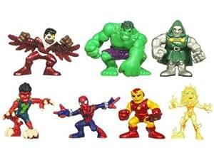 Marvel Superhero Squad Mini Figure 7Pack Defeat of Dr. Doom Volcana, Reptil, Falcon, SpiderMan, Hulk, Iron Man, Dr. Doom