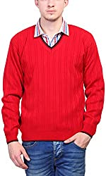 Priknit Men's Blended Sweater (SH 5000-40 RED, Red, 40)