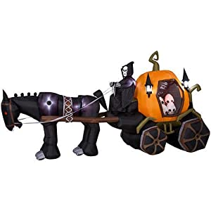 Animated Airblown Horse Carriage W/glowing Skulls