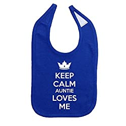 Mashed Clothing Unisex-Baby Keep Calm Auntie Loves Me Cotton Baby Bib (Royal)
