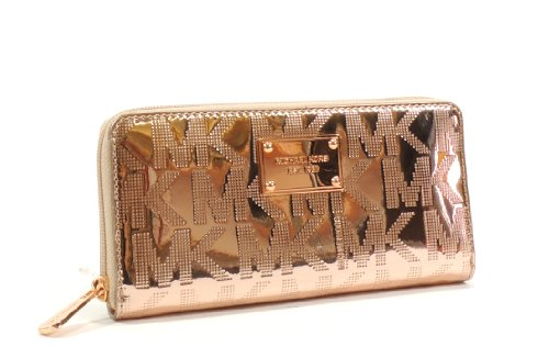 Michael Michael Kors Mirror Metallic Signature Zip Around Continental Wallet (Rose Gold)