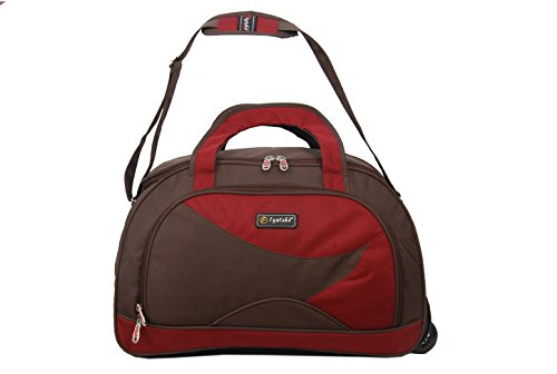 Fyntake ERAM884 Duffle Trolly Bag (Coffe brown & Red) (multicolor)