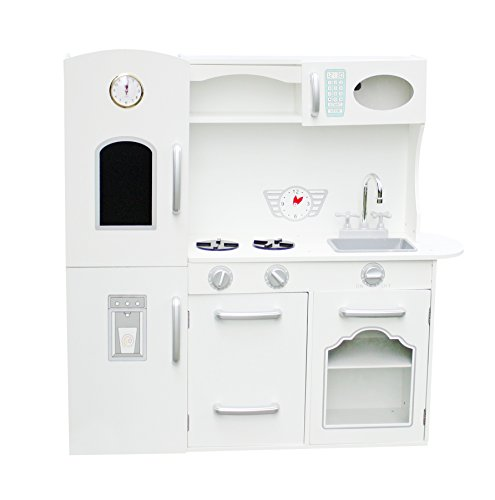 Vintage Large White Wooden Kitchen Toy Pretend Kids children role play set with black board by Oye Hoye - White (Vintage Kid Kitchen compare prices)