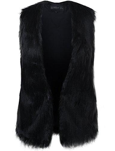 FPT Womens Open Faux Fur Vest BLACK LARGE Faux Fur Vest