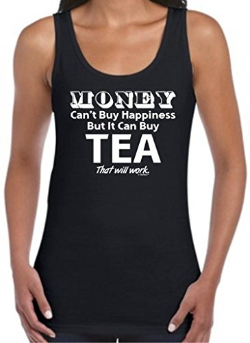 Money Can'T Buy Happiness But It Can Buy Tea Juniors Tank Top Large Black