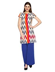 Fashion205 Offwhite And Grey Printed Cotton Short Kurti - B00ZL87UQS
