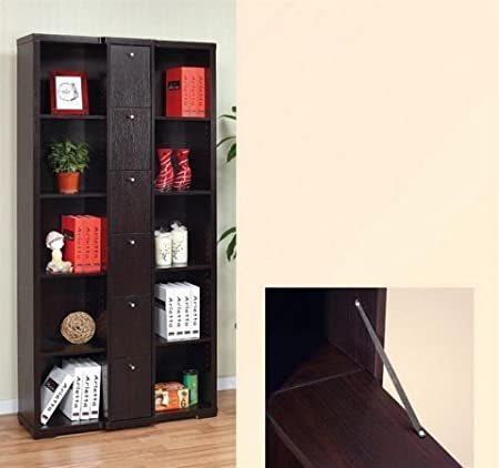 Enitial Lab 10359 Gilmore Bookcase-Display Cabinet in Red Cocoa Brown Finish