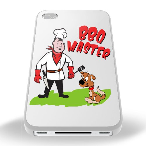 White Cover For Iphone 4 / 4S BBQ Master Funny Phone Case Shell