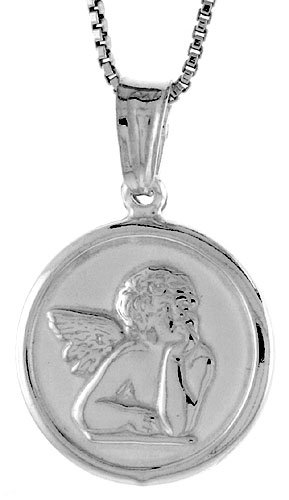 Sterling Silver Guardian Angel Medal, Made in Italy. 5/8 inch (17 mm) in Diameter.