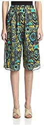 M Missoni Women's Culottes, Green/Multi, 40 US